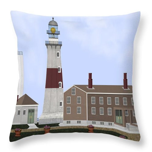 Montauk Lighthouse Throw Pillow featuring the painting Montauk Point Lighthouse Long Island New York by Anne Norskog