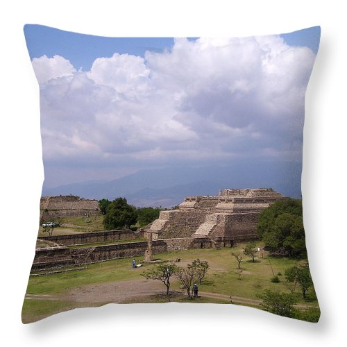 Monte Alban Throw Pillow featuring the photograph Monte Alban 2 by Michael Peychich