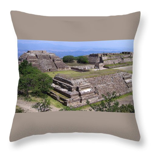 Monte Alban Throw Pillow featuring the photograph Monte Alban by Michael Peychich