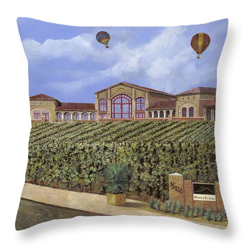 House Portrait  Throw Pillow featuring the painting Monte De Oro And The Air Balloons by Guido Borelli