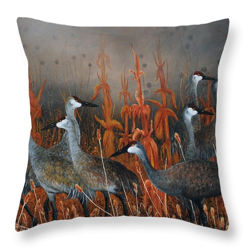 Sandhill Cranes Throw Pillow featuring the painting Monte Vista Sandhill Cranes by Mike Ross