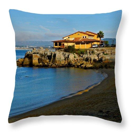 Monterey Bay Restaurant Throw Pillow featuring the photograph Monterey Bay Restaurant by Kirsten Giving
