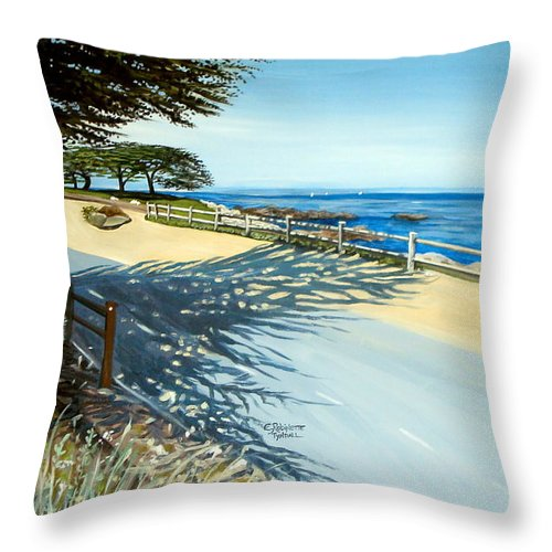 Landscape Throw Pillow featuring the painting Monterey Shadows by Elizabeth Robinette Tyndall