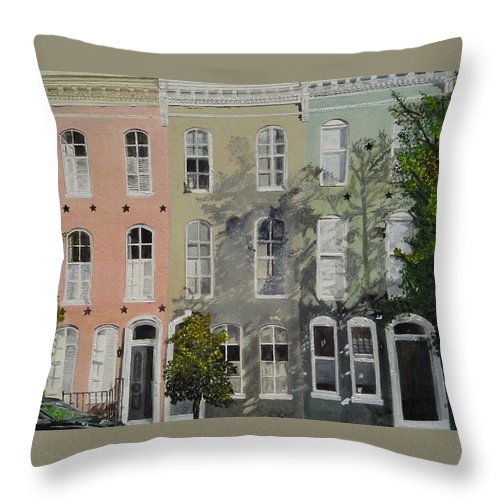Montgomery Street Throw Pillow featuring the painting Montgomery Street Trio by John Schuller