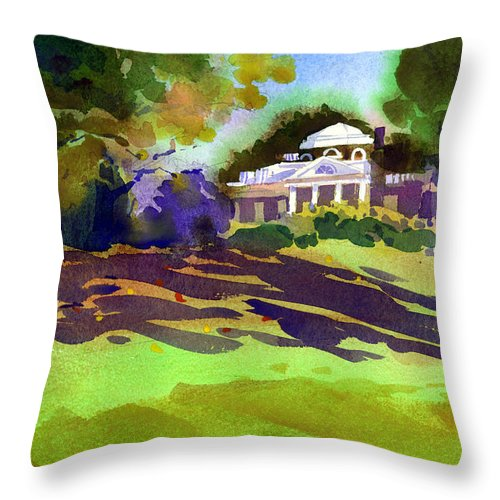 Thomas Jefferson Throw Pillow featuring the painting Monticello In October by Lee Klingenberg
