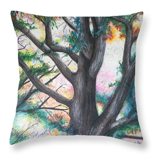 Monticello Throw Pillow featuring the pastel Monticello Tree by Colleen Gartner
