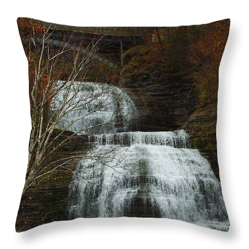 Fall Water New York Ny Throw Pillow featuring the photograph Montour Falls by Linda Murphy