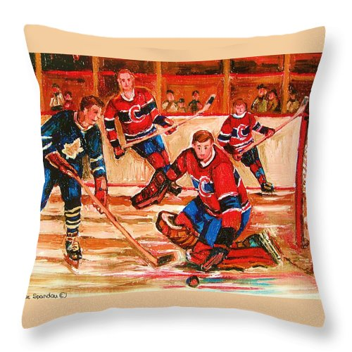 Montreal Forum Hockey Throw Pillow featuring the painting Montreal Forum Hockey Game by Carole Spandau