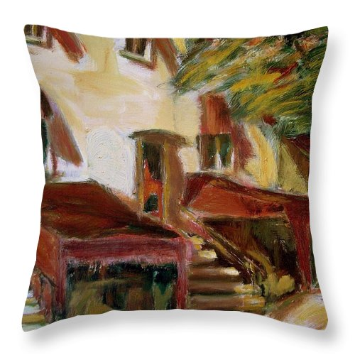 Dornberg Throw Pillow featuring the painting Montreal Hotel by Bob Dornberg