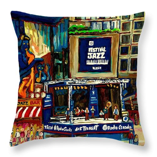 Montreal Throw Pillow featuring the painting Montreal Jazz Festival Arcade by Carole Spandau
