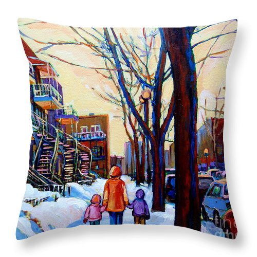 Montreal Throw Pillow featuring the painting Montreal Winter by Carole Spandau