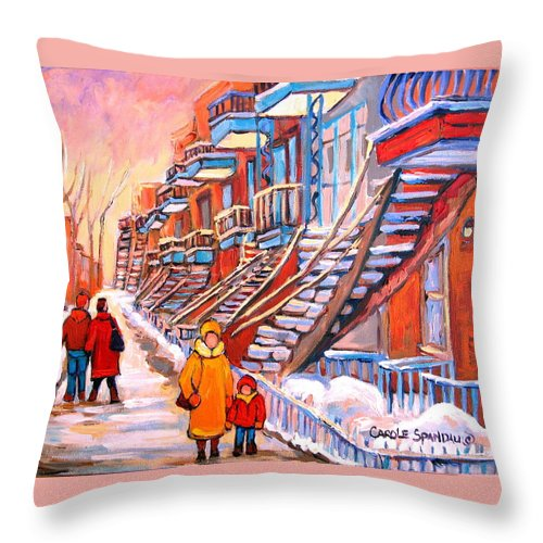 Montreal Throw Pillow featuring the painting Montreal Winter Walk by Carole Spandau