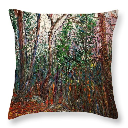 Landscape Throw Pillow featuring the painting Montville Wood by J E T I I I