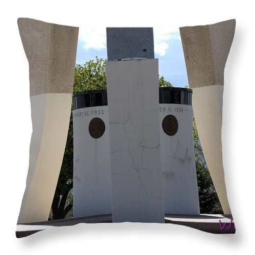 Bells Throw Pillow featuring the photograph Monument Base by Wendy Fox