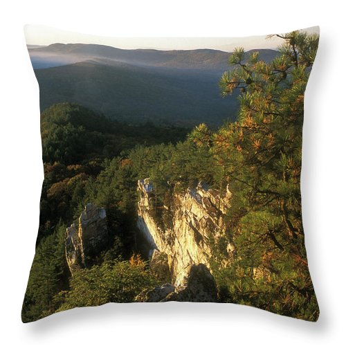 Monument Mountain Throw Pillow featuring the photograph Monument Mountain Devils Pulpit Overlook by John Burk