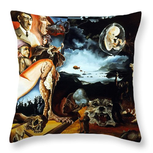 War Throw Pillow featuring the painting Monument To The Unborn War Hero by Otto Rapp