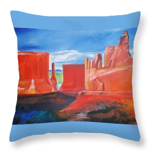 Floral Throw Pillow featuring the painting Monument Valley by Eric Schiabor