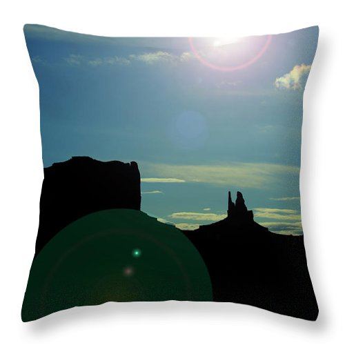 Monument Valley Throw Pillow featuring the photograph Monument Valley silhouette by Roy Nierdieck