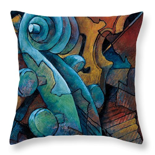 Cello Artwork Throw Pillow featuring the painting Moody Blues by Susanne Clark
