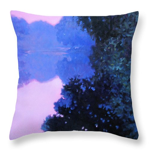 Landscape Painting Throw Pillow featuring the painting Moody River by Kevin Lawrence Leveque