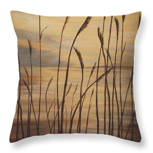 Sunset Throw Pillow featuring the painting Moody Sunset by Johanna Lerwick