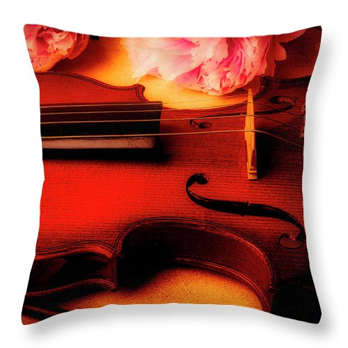 Pink Throw Pillow featuring the photograph Moody Violin With Peonies by Garry Gay