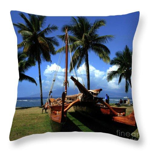Aloha Throw Pillow featuring the photograph Moolele Canoe At Hui O Waa Kaulua Lahaina by Sharon Mau
