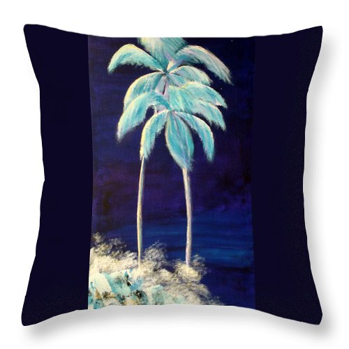 Palm Throw Pillow featuring the painting Moolight Beach by Susan Kubes