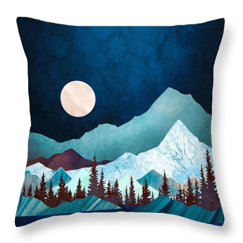 Digital Throw Pillow featuring the digital art Moon Bay by Spacefrog Designs