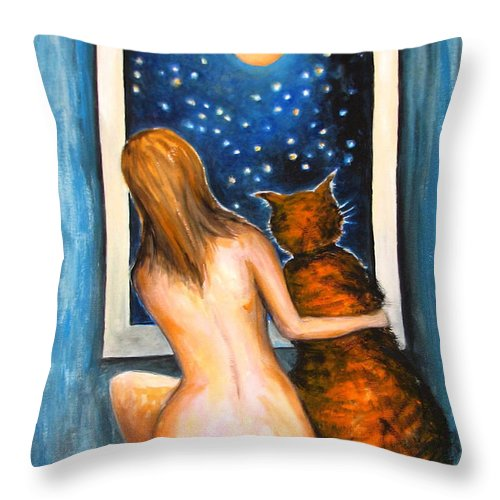 Abstract Throw Pillow featuring the painting Moon Fantasy by Natalja Picugina