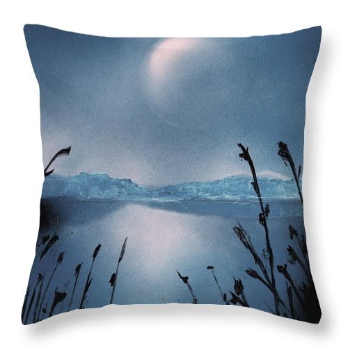 Fantasy Throw Pillow featuring the painting Moon Fog by Nandor Molnar
