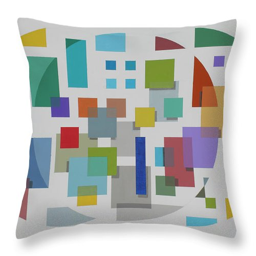 Geometric Abstract Throw Pillow featuring the painting Moon Gate Series #2 by Marston A Jaquis