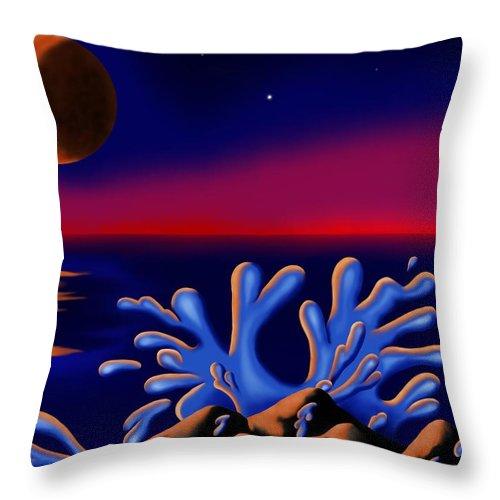 Surrealism Throw Pillow featuring the digital art Moon-glow II by Robert Morin