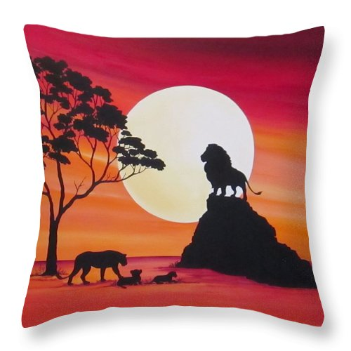 Moon Throw Pillow featuring the painting Moon In Africa Lions by Carol Sabo