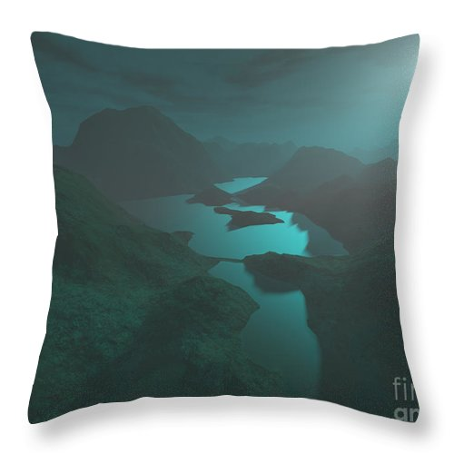 Digital Art Throw Pillow featuring the digital art Moon Light At The Mountains by Gaspar Avila