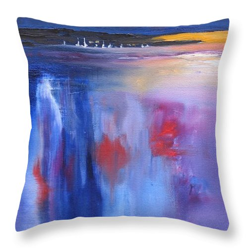 Oil Painting Throw Pillow featuring the painting Moon Lit by Laura Lee Zanghetti