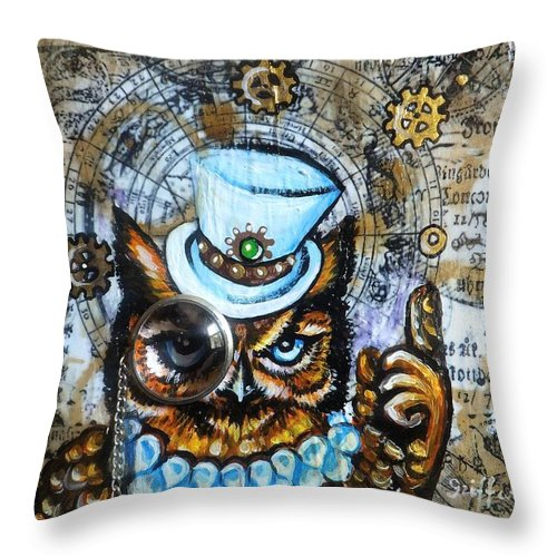 Owl Horned Frill Bird Predator Night Day Moon Sun Blue Top Hat Emerald Lunar Gold Studs Orange Brown Black Jewel Chain Goggles Cogs Gears Steampunk Victorian Era Clocks Watches Halo Key Time Coffee Stains Aged Page Hand Writing Antique Vintage Original Painting Abstract Art Whimsical Funny Cute Adorable Smiling Smile Happy Friendly Sweet Heart White Throw Pillow featuring the painting Moon Logic by Anna Griffard