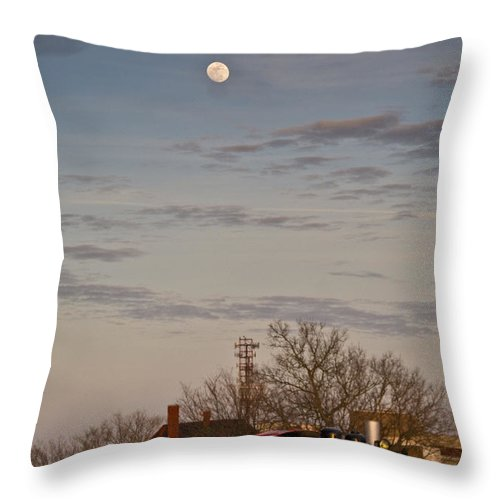 Train Throw Pillow featuring the photograph Moon Over Engine 509 by Douglas Barnett