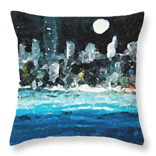 Miami Throw Pillow featuring the painting Moon Over Miami by Jorge Delara
