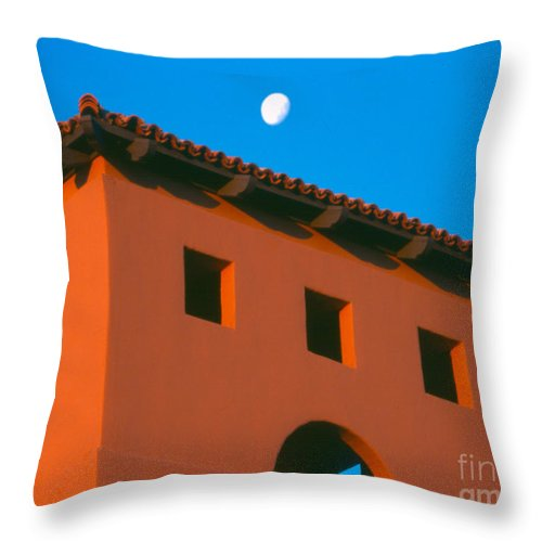 Throw Pillow featuring the photograph Moon Over Red Adobe Horizontal by Heather Kirk