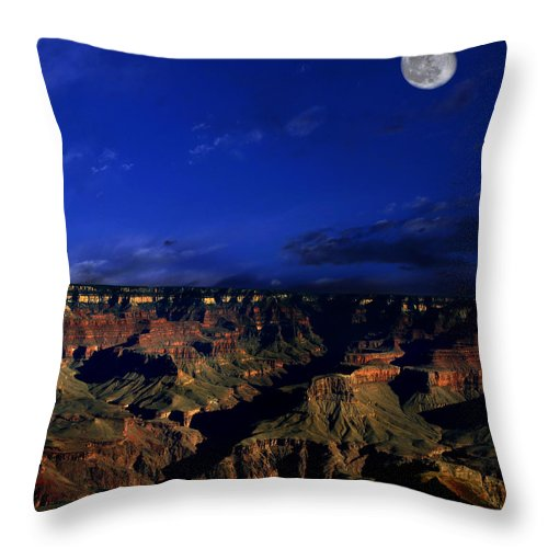 Grand Canyon Throw Pillow featuring the photograph Moon Over The Canyon by Anthony Jones