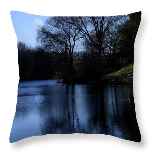 Moon Throw Pillow featuring the digital art Moon Over The Charles by Edward Cardini