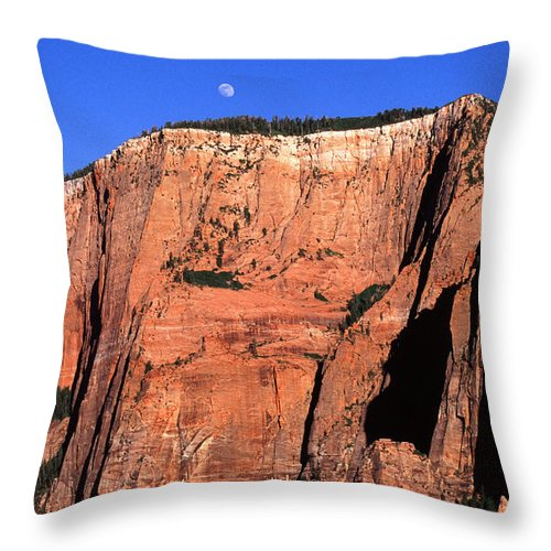 Moon Throw Pillow featuring the photograph Moon Over Zion by Amanda Kiplinger