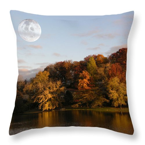 Moon Rising Throw Pillow featuring the photograph Moon Rising by Dennis Bivens