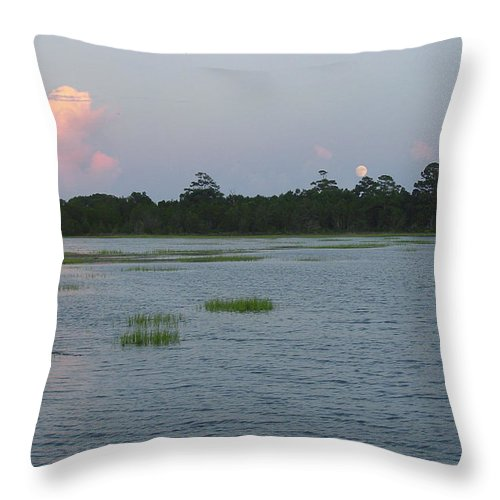 Marsh Throw Pillow featuring the photograph Moon Rising Over The Inlet by Suzanne Gaff