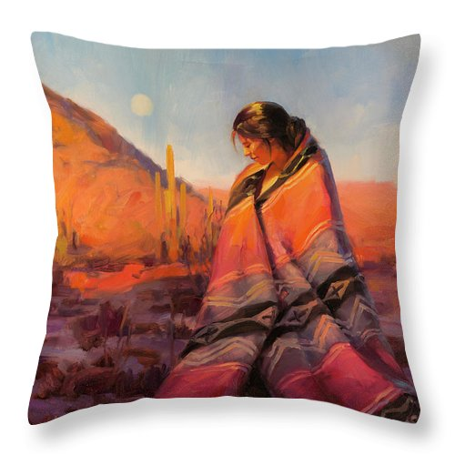 Southwest Throw Pillow featuring the painting Moon Rising by Steve Henderson