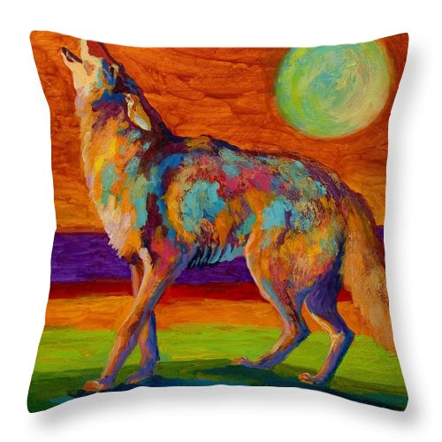 Coyote Throw Pillow featuring the painting Moon Talk - Coyote by Marion Rose
