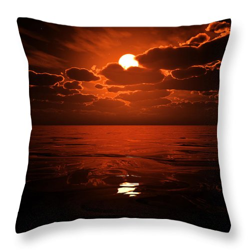 Cloud Throw Pillow featuring the digital art Moon Water by Max Steinwald