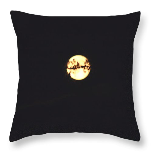 Moon Trees Night Dark Sky Branches Lonely Love Hug Throw Pillow featuring the photograph Moon Wrapped by Andrea Lawrence