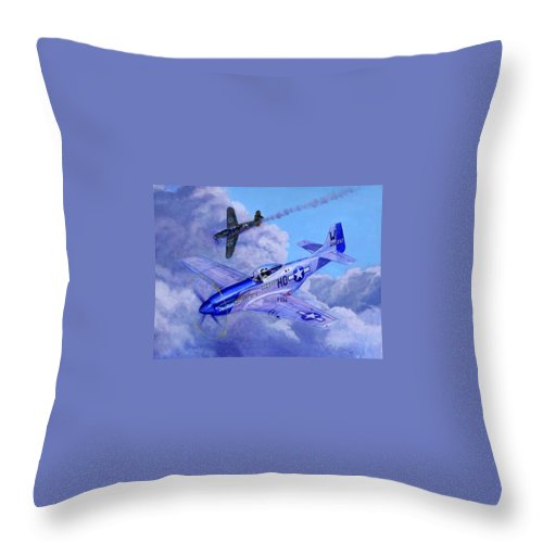 Capt Bill Wisner Shoots Down Two Bf-109s On November 2nd 1944 Throw Pillow featuring the painting Moonbeam Mcswine by Scott Robertson